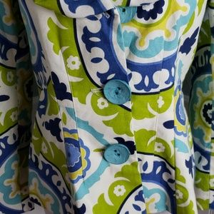 3 Sisters Jackets & Coats - 3 Sisters Paisley Ruffle Collar Blazer